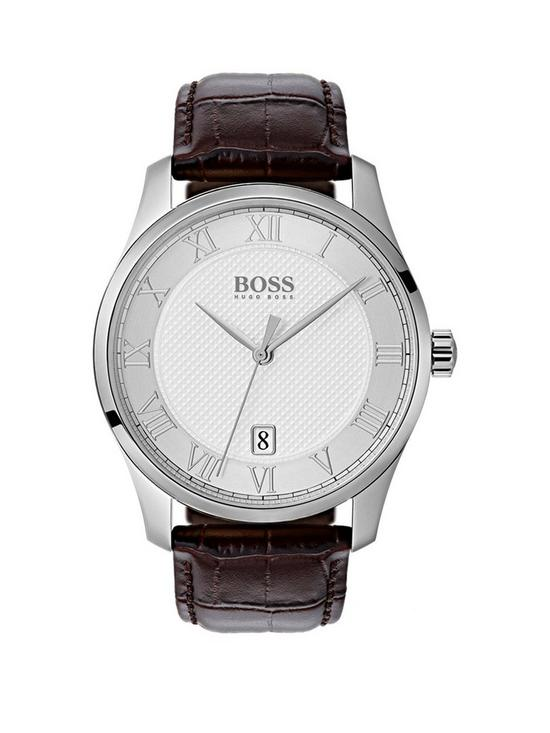 Boss Master Silver Date Dial Brown Leather Strap Mens Watch