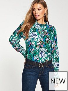 v-by-very-floral-high-neck-gathered-jersey-top-green-floral
