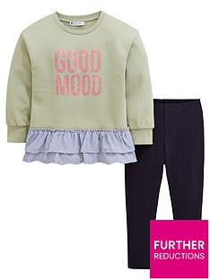 5677772dae5f Mini V by Very Girls Good Mood Peplum Outfit - Green