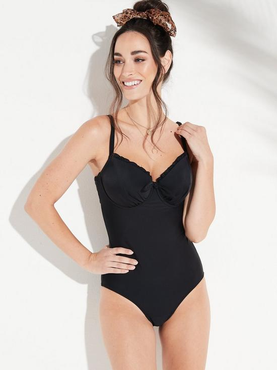 9bd04036de Pour Moi Splash Padded Underwired Swimsuit - Black | very.co.uk