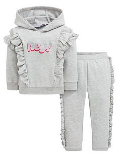 656df7f0d5 Mini V by Very Girls Hey Frill Jogger Outfit - Grey