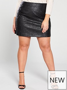 v-by-very-curve-textured-pu-skirt-black