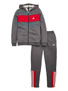 adidas-youth-cotton-tracksuit-greyred