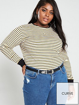 v-by-very-curve-long-sleeve-top-stripe