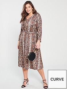 97b18c6ab15372 V by Very Curve V Neck Jersey Midi Dress - Snake Print