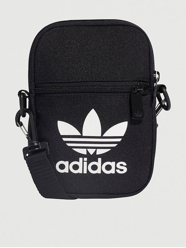 Célula somatica Escudero Larry Belmont  adidas Originals Trefoil Festival Bag - Black | very.co.uk