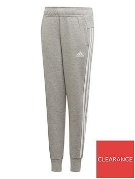 adidas-youth-3-stripe-pants-greywhite