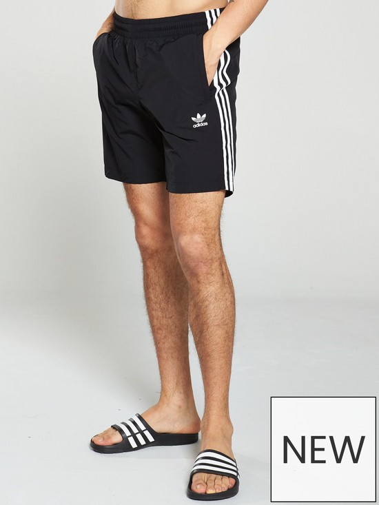 dcdbb82fd7 adidas Originals 3 Stripe Swim Shorts - Black | very.co.uk