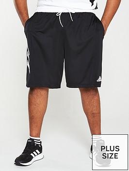 adidas-plus-size-3-stripe-shorts-black