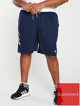 adidas-plus-size-3-stripe-shorts-navy