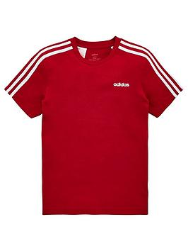 adidas-youth-e-3-stripe-t-shirt-redwhite