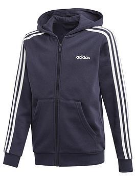 adidas-youthnbsp3-stripe-full-zip-hoodienbsp--navywhite