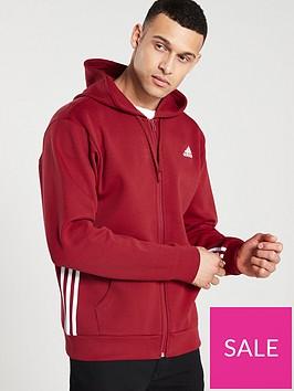 adidas-side-3-stripe-full-zip-hoodienbsp--red