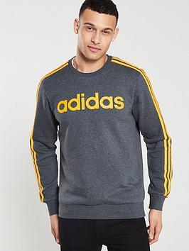adidas-essential-3-stripe-crew-neck-sweat-dark-grey-heathernbsp