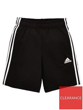 adidas-youth-3-stripe-shorts-blackwhite