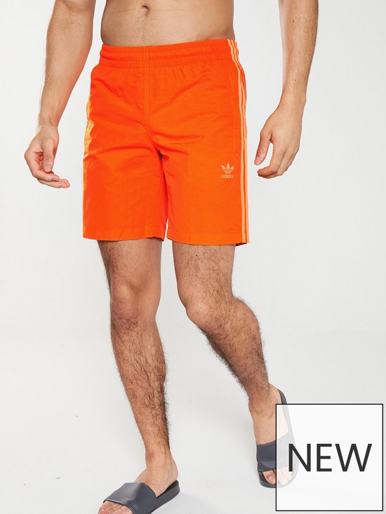 14ceaf9c16 adidas Originals 3 Stripe Swim Shorts - Orange | very.co.uk