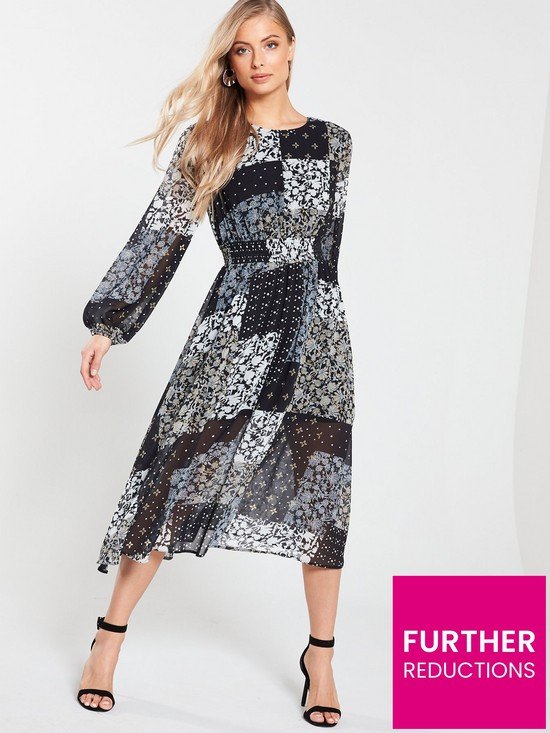 417772f30beb V by Very Shirred Waist Midi Dress - Scarf Print | very.co.uk
