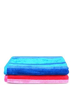 downland-pair-of-striped-super-soft-beach-towels-ndash-pink-and-blue