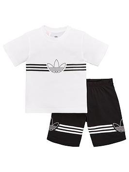 adidas-originals-infant-2-piece-outline-t-shirt-and-shorts-set-whiteblack