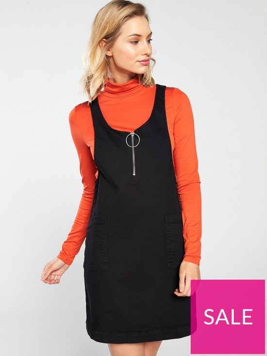 cd5b7cdd296b5 V by Very Denim Pinafore Dress - Black | very.co.uk