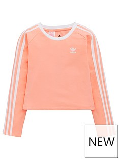 best quality 605df e1056 adidas Originals Youth 3 Stripe Long Sleeve Crop Top - Pink White