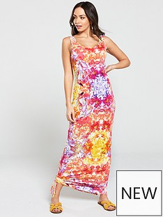 3cd86f5580 V by Very Side Gathered Floral Jersey Maxi Dress - Multi Floral