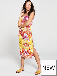 d751c62539d V by Very Floral Printed Jersey Bandeau Midi Dress - Multi