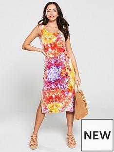 f808f8febd7 V by Very Floral Printed Jersey Midi Vest Dress - Multi