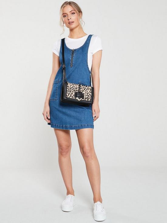 24acd0634a9 V by Very Denim Pinafore Dress - Mid Blue