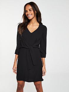 da883ea3727 V by Very Knot Waist V-Neck Tunic Dress – Black