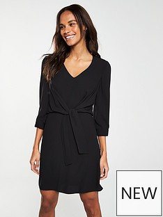 69bb6aecdb V by Very Knot Waist V-Neck Tunic Dress – Black