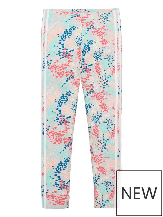 441366db1cf235 adidas Originals Youth Floral Print Leggings - Grey/Multi | very.co.uk