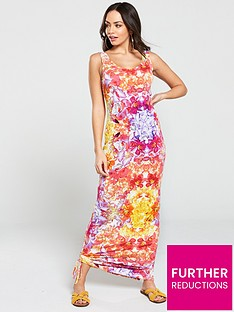 v-by-very-petite-side-gather-jersey-maxi-dress-multi