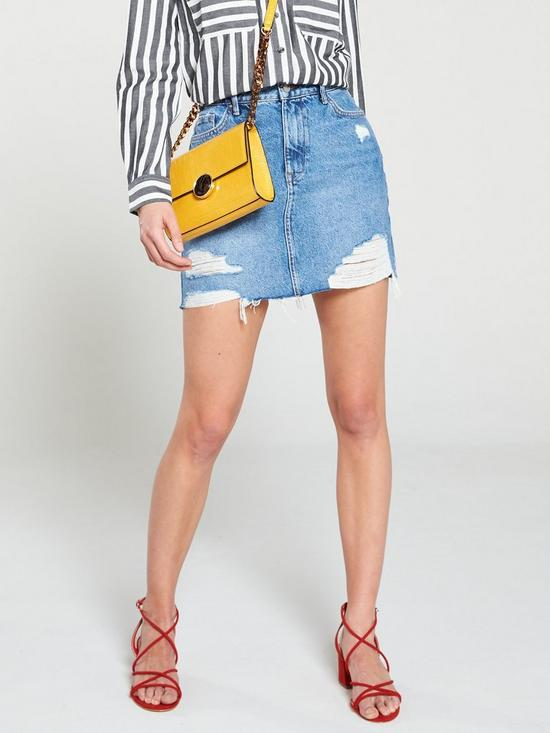 08ca79e6056c V by Very Distressed Denim Skirt - Mid Wash | very.co.uk