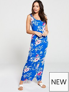 64bb7dcb56 V by Very Side Gathered Floral Jersey Maxi Dress - Blue
