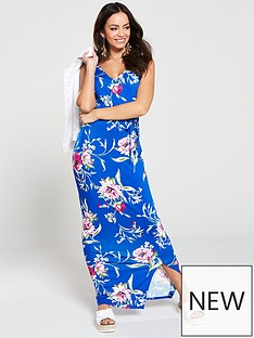 49fc27d21aa V by Very Floral Wrap Jersey Maxi Dress - Blue