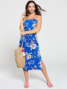 v-by-very-floral-printed-bandeau-midi-dress-blue