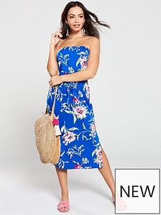 bc67adba657 V by Very Floral Printed Bandeau Midi Dress - Blue