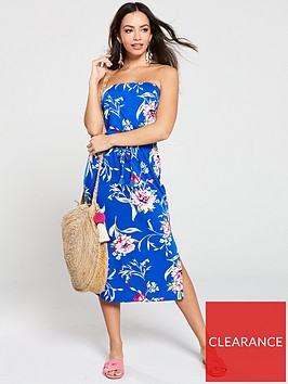 v-by-very-floral-printed-bandeau-midi-dress-blue