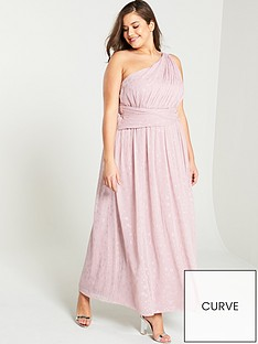 cf88b4c940ad Little Mistress Curve One Shoulder Corsage Maxi Dress - Rose