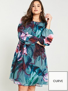 little-mistress-curve-printed-shift-dress-multi