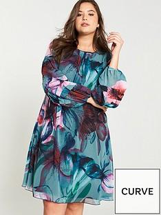 little-mistress-curve-printed-shift-dress-multi