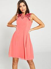 e652f17f6ae3 Little Mistress V-Neck Floral Embellished Skater Dress - Coral