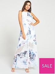 2b59f83a89 Little Mistress Lace Insert Floral Print Chiffon Maxi Dress – Multi