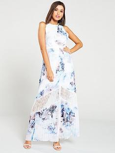 6ccb5bd67bd Little Mistress Lace Insert Floral Print Chiffon Maxi Dress – Multi