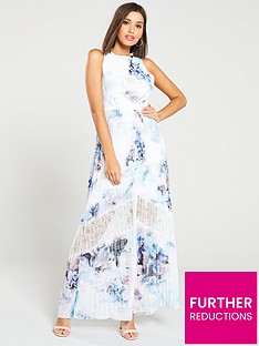little-mistress-lace-insert-floral-print-chiffon-maxi-dress-ndash-multi