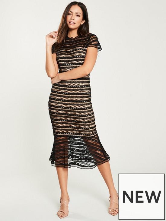 2d9d4146314e U Collection Forever Unique Lace Midi Dress - Black | very.co.uk