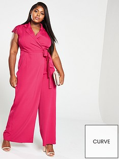 5b36ab6ea4a Little Mistress Curve Wrap Lace Back Jumpsuit - Pink