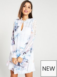 ae7feea18db Little Mistress High Neck Lace Mini Shift Dress - Multi