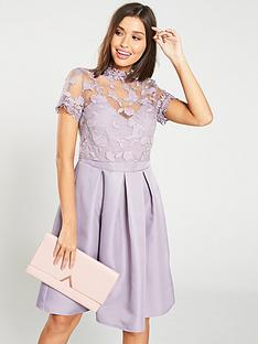 5bdba634f5 Little Mistress Embroidered High Neck Skater Dress – Lavender